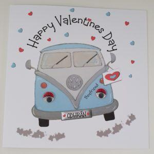 Personalised Valentines Card VW Camper Boyfriend Husband Wife Girlfriend Wife