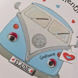 Personalised Valentines Card VW Camper Boyfriend Husband Wife Girlfriend Wife Any Colour Camper (SKU825)