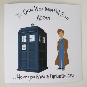Personalised Large Birthday Card Doctor Dr Who Theme Son Daughter Any Relation