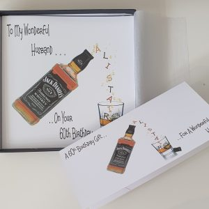 Personalised 60th Birthday Card Husband Whiskey/Whisky Theme Any Relation, Age, Any Bottle (SKU702)