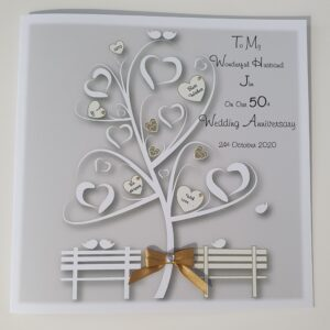 Personalised 50th Wedding Anniversary Card Husband Or Wife Any Year Or Colour (SKU781)