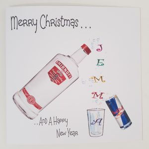 Personalised 8×8 Drinking Christmas Card Vodka Any Relation Any Tipple