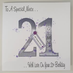 Personalised 21st Birthday Card Niece Any Relation Or Age (SKU311)