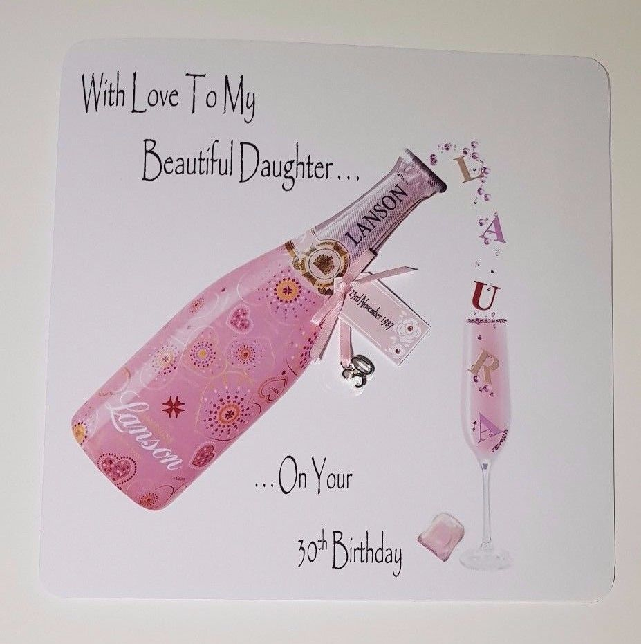 Pink Champagne Personalised Birthday Card 18th 21st 30th 40th 50th 60th Daughter Granddaughter Goddaughter Niece Sister Nan Mum Grandma