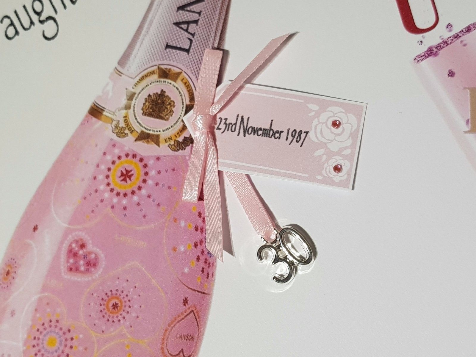Pink Champagne Personalised Birthday Card 18th 21st 30th 40th 50th 60th Daughter Granddaughter Goddaughter Niece Sister Nan Mum Grandma