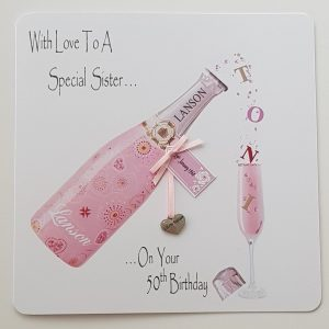Personalised 50th Birthday Card Champagne Little Sister Big Sister Middle Sister Boxed Option & Gift Money Wallet Option