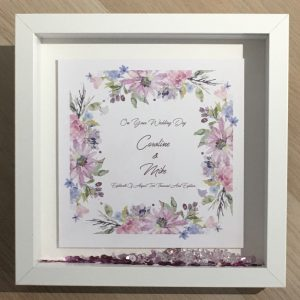 Personalised Wedding Day Keepsake Boxed Frame Card Any Occasion Any Colour