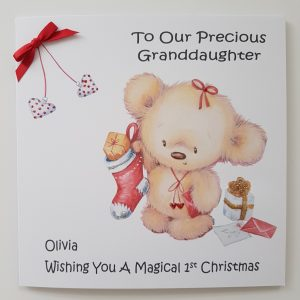 Personalised Baby's 1st Christmas Card Teddy Bear Theme Any Relation Any Age