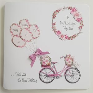 Personalised Birthday Card Wife Bicycle & Flower Design Any Occasion