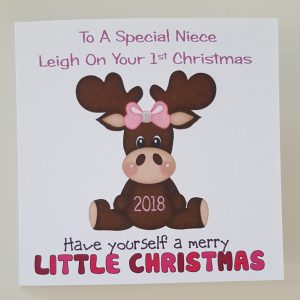 Personalised Baby Girl 1st First Christmas Card Reindeer Daughter Any Relation