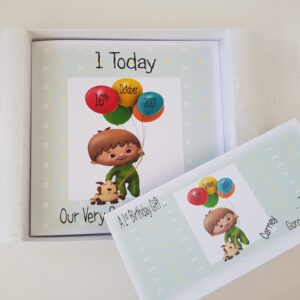 Personalised Cuddlies Baby 1st Birthday Card Grandson Any Relation Or Age (SKU232)