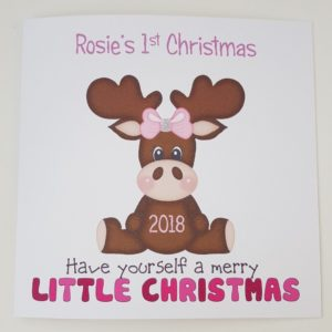 Personalised Baby Girl 1st First Christmas Card Special LIttle Girl or Boy Moose