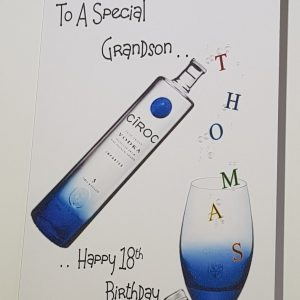 Personalised 18th Vodka Birthday Card Any Relation, Tipple Or Age (SKU234)