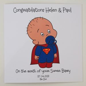 Personalised 8×8 New Baby Boy Card Twins Triplets Superman Super Baby Funny