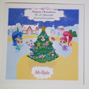 Personalised Christmas Card Shimmer Shine Daughter