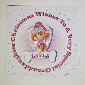 Personalised 8×8 Christmas Card Paw Patrol Granddaughter Any Relation