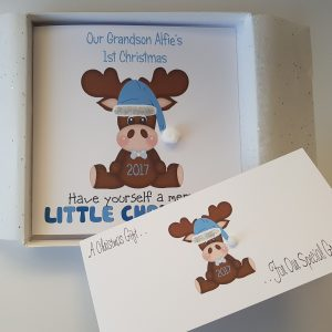 Personalised 8×8 Baby's 1st First Christmas Card Moose Any Age Any Relation