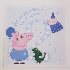 Personalised 8×8 Birthday Card Peppa Pig George Character Any Relation Any Age