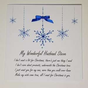 Personalised Christmas Cards Snowflake All I Want For Christmas Wording Lyrics