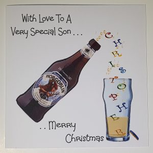 Pesonalised Christmas Card For Friends or Relations   Drinking Theme Beer Can Be Made Using Any Bottle   Boxed Option And Gift Wallet Option