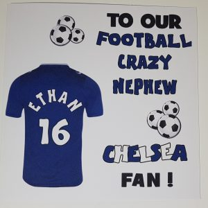 Personalised Birthday Card Chelsea Football Rugby Nephew Any Relation Any Team Any Colour