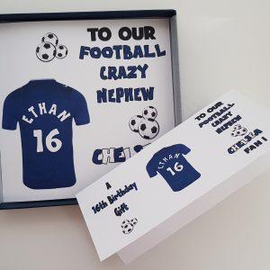 Personalised Birthday Card Chelsea  Football Rugby / Son / Dad / Grandson / Grandad / Nephew / Uncle / Friend / Mate / Daughter / Granddaughter / Sister / Mum / Auntie / Niece / Grandma / Nanna