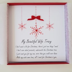 Personalised Christmas Cards Snowflake Design Wife Husband Fiance All I Want For Christmas Wording Lyrics Any Relation Any Colour