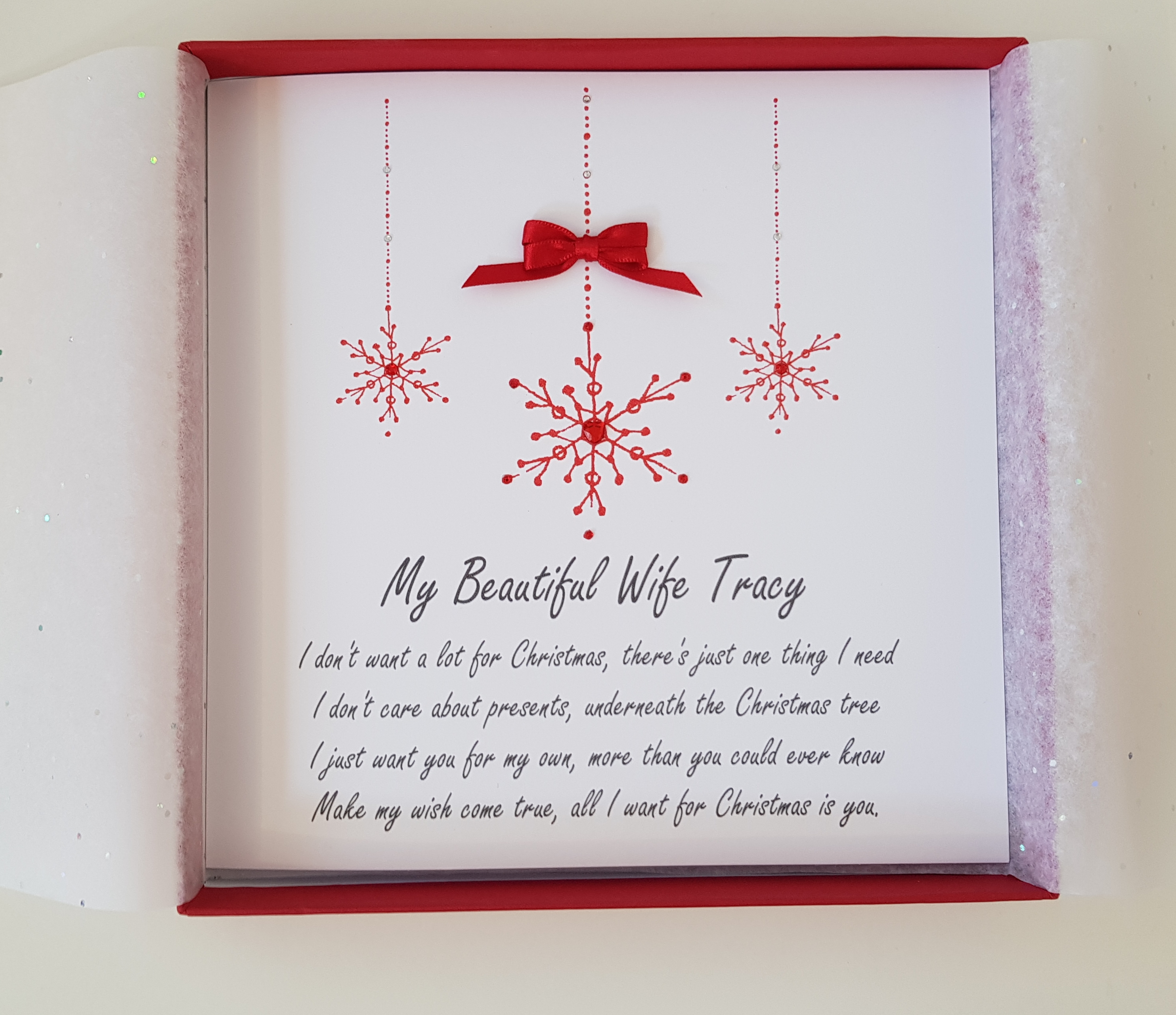 Personalised Christmas Cards Snowflake Design Wife Husband Fiance ...