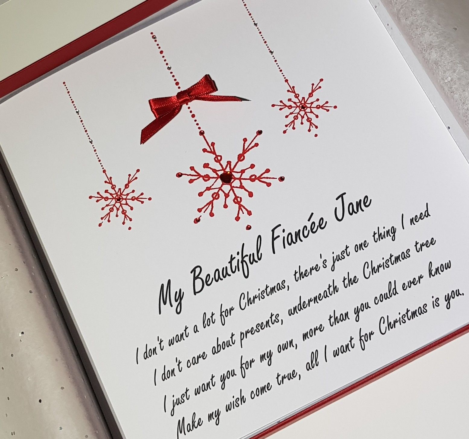 personalised christmas cards snowflake design all i want for