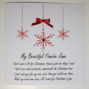 Christmas Cards Snowflake Design Personalised Fiance Girlfriend Boyfriend Partner All I Want For Christmas Wording Lyrics Any Colour