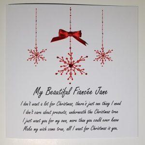 Christmas Cards Snowflake Design  Personalised  Wife Husband Fiance Fiancee Girlfriend Boyfriend Partner  All I Want For Christmas Wording Lyrics