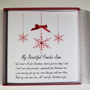Christmas Cards Snowflake Design  Personalised  Wife Husband Fiance Fiancee Girlfriend Boyfriend Partner  All I Want For Christmas Wording Lyrics