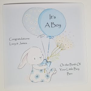 Personalised 8×8 New Baby Or Christening Card Boy or Girl Twins Triplets Gift Boxed Option & Gift Wallet Option
