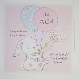 Personalised Card New Baby, Christening Girl, Boy, Twins, Triplets, Gift Boxed Option & Gift Wallet Option