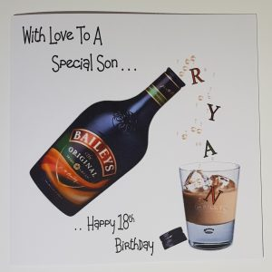 Personalised 18th Birthday Card Son Drinking Baileys Any Person, Any Age, Any Bottle