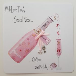 Personalised 21st Birthday Card 21 Charm And Key Champagne      Suitable For Any Relation of Any Age