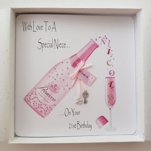 Personalised 21st Birthday Card 21 Charm And Key Prosecco Niece Gift Boxed Option & Gift Money Wallet Option