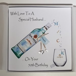 Personalised 50th Birthday Card Husband  Dad  Brother In law  Nephew  Godson  Grandson  Uncle  Friend Rum Whiskey Gin Vodka  18th 21st 25th 30th 40th 60th  Gift Boxed Option & Gift Money Wallet Options