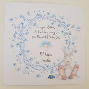 Personalised Christening Card Or New Baby Card Boy or Girl  Twins Triplets Gift Boxed Option & Gift Wallet Option