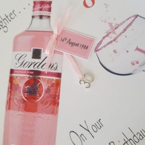 Personalised 30th Birthday Card Pink Gin Bottle Daughter Any Age Relation