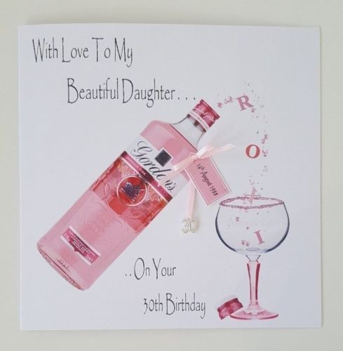 Personalised 30th Birthday Card Pink Gin Bottle Daughter Any Age