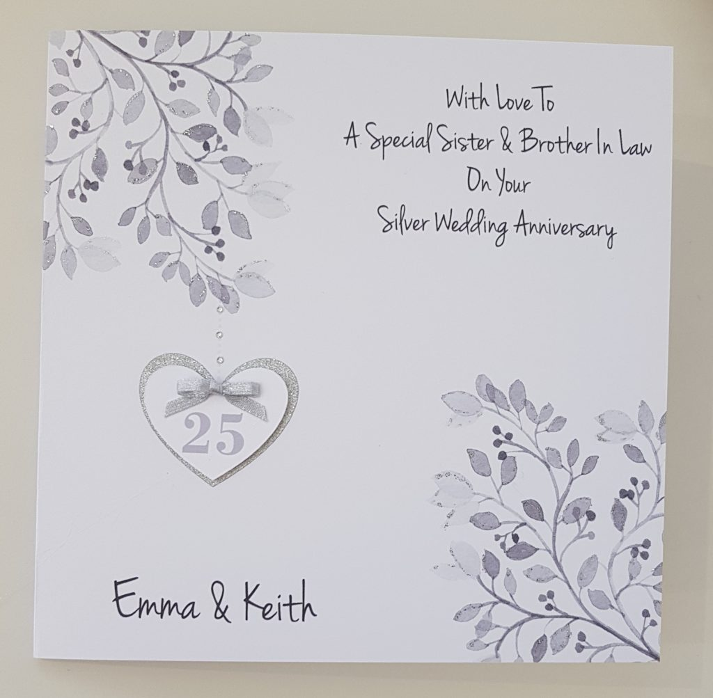 Personalised Silver 25th Anniversary Card Husband Wife