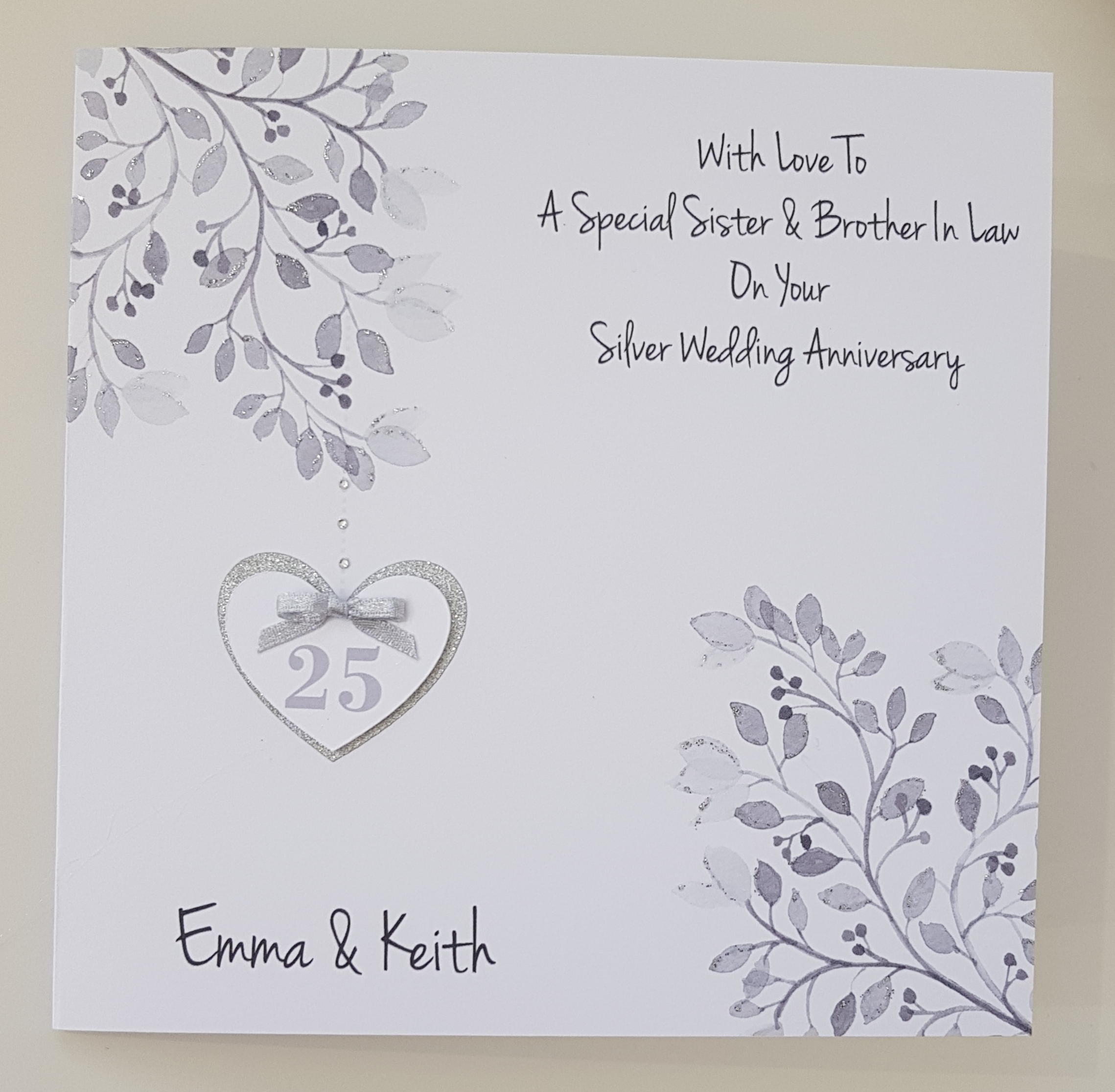 Silver Wedding Anniversary Gift Ideas For Husband: Personalised Silver 25th Anniversary Card Husband Wife