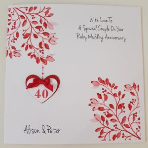 Personalised Ruby 40th Anniversary Card Husband Wife Any Couple Any Year Any Colour