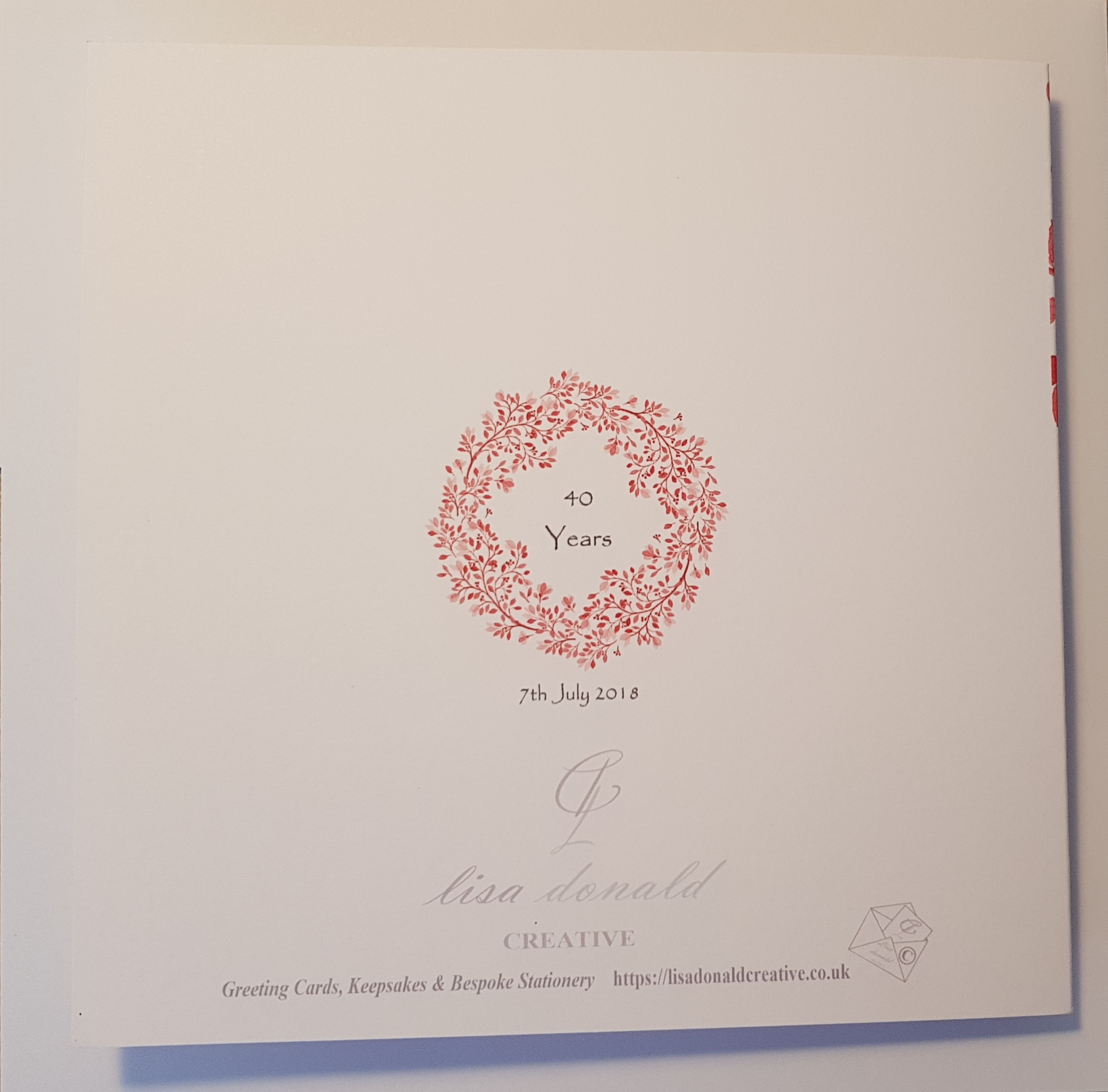 Ruby Wedding Gift Ideas For Husband: Personalised Ruby 40th Anniversary Card Husband Wife