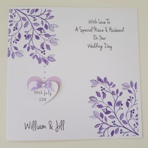 Personalised Wedding Day Card Niece & Husband Any Couple Any Colour