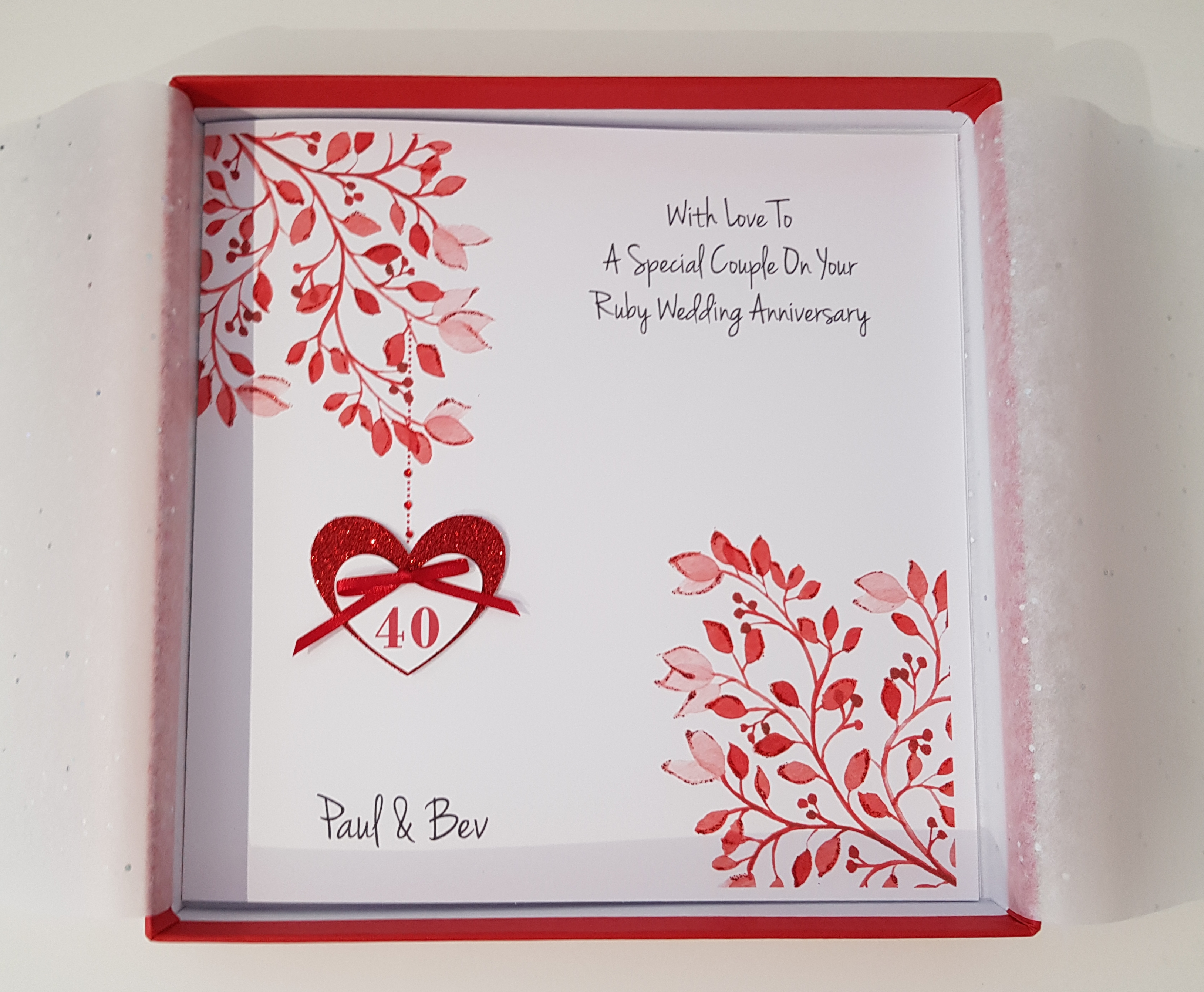 40th Wedding Anniversary Gifts For Husband: Personalised Ruby 40th Anniversary Card Husband Wife Any