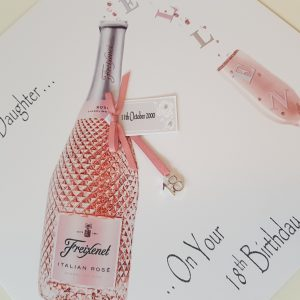 Personalised Birthday Card Pink Prosecco 18th 21st 30th 40th 50th Daughter Mum Sister Friend Gift Boxed Option & Gift Wallet Option