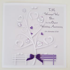 Personalised Crystal Wedding Anniversary Card Husband Wife Any Year Any Colour