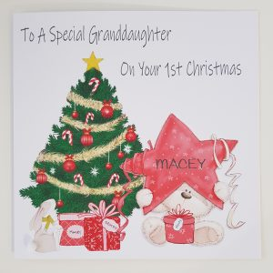 Personalised 8 x 8 Baby's 1st First Christmas Card Teddy Star Christmas Tree Granddaughter Any Relation